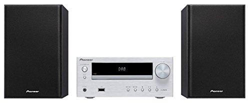 Pioneer X-HM26D(S) Microsystem mit Zweiwege-Boxen (Bluetooth, FM-Radio, DAB+, CD, MP3-USB, Fernbedienung, Timer- und Weckfunktion) Silber