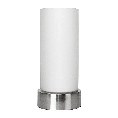MiniSun – Moderne und zylinderförmige Tischlampe mit verchromtem Finish und einem Lampenschirm aus Milchglas (Milchglas-zylinder)