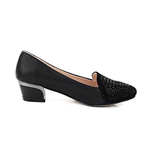 AllhqFashion Damen Ziehen Auf Niedriger Absatz Blend-Materialien Eingelegt Pumps Schuhe Schwarz