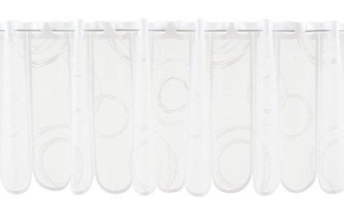 Scheibengardine Kringel 30 cm Hoch | Breite der Gardine durch gekaufte Menge in 11 cm Schritten wählbar (Anfertigung Nach Maß) | Weiß | Vorhang Küche Wohnzimmer