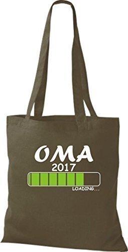 ShirtInStyle Sac en tissu Sacs en coton Chargement OMA 2017 - Orange, 38 cm x 42 cm Olive