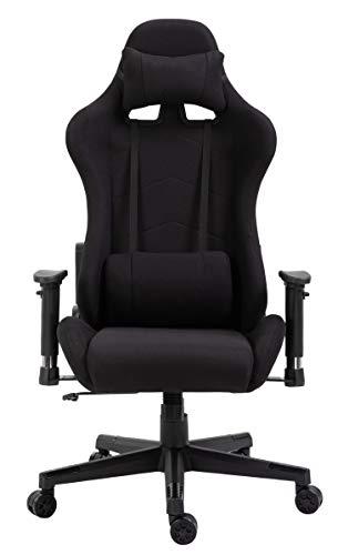 Delman Racing Bürostuhl Schreibtischstuhl Gaming Chair Drehstuhl Computerstuhl Stoff Bezug mit Kissen einstellbaren Armlehnen Ergonomisch höhenverstellbar 02-0021 (Schwarz)