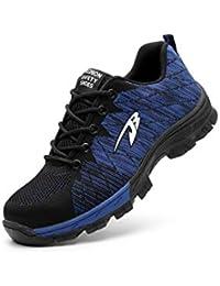Wasnton Mujer Hombre Zapatillas de Seguridad Deportivos con Puntera de Acero Zapatos de Trabajo Entrenador Unisex