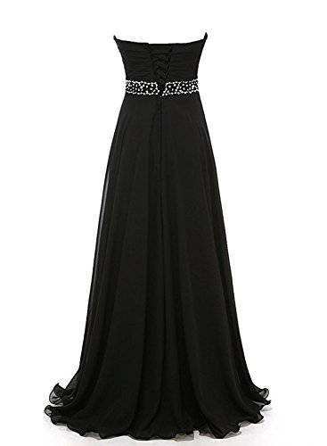 Azbro Women's Sweetheart Strapless Rhinestone Bridesmaid Chiffon Prom Dress Black