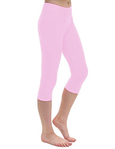 Janisramone Womens Ladies New Plain Stretchy 3/4 Leggings Workout Tight Gym Cropped Capri Active Pants