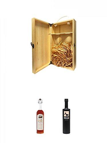 1a Whisky Holzbox für 2 Flaschen mit Hakenverschluss + Poli Vaca Mora Amaro Jacopo Poli 32% 0,7 Liter + Muli 68 Kräuterlikör 0,5 Liter
