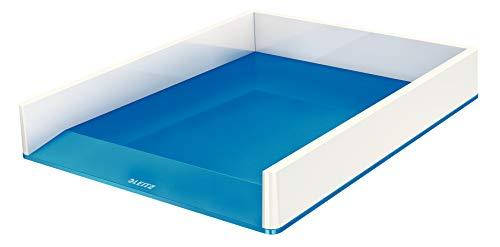 Leitz WOW - Vaschetta portacorrispondenza Dual Color, Formato A4, 26,7 x 4,9 x 33,6 cm (LxAxP) - Poliestere - Bianco / Blu metall.