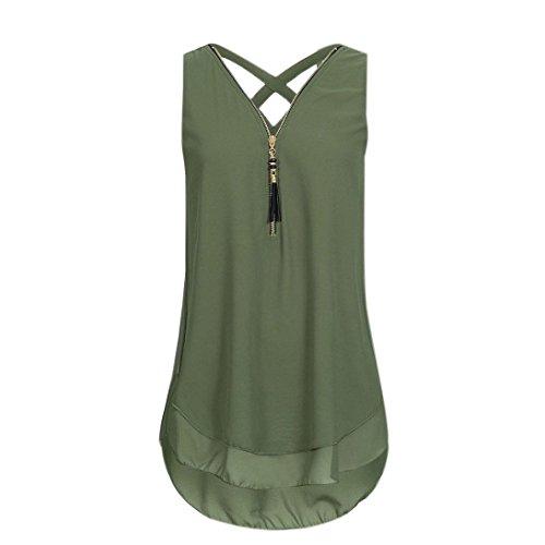 iHENGH 10 Farben Damen Lose Übergröße Ärmelloses Tanktop Kreuz zurück Saum Gelegt Reißverschluss V-Neck T-Shirts Tops, S-5XL(XXXXX-Large,Grün)