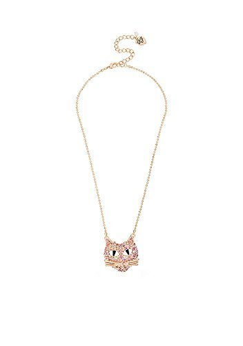 Betsey Johnson Rose Gold-Tone Pink Crystal Cat Pendant Necklace - Betsey Johnson Rose
