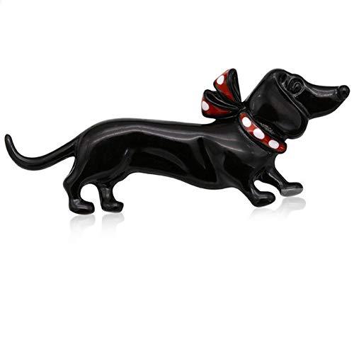 Einfach Weiblichen Niedlich Kostüm - CCJIAC Schwarzer Hund Broschen Frauen Schmuck niedliche Mode weibliche Kleidung Kostüm Kragen Hut Emaille Pin Tier Brosche