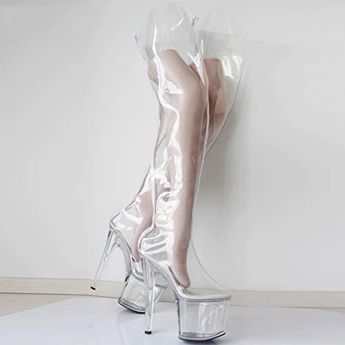 COSY-L Damen Kniehohe Stiefel Spitze High Heels Stiletto Transparent Lange Stiefel Elegante Mädchen Pumps SM Ballettkönigin Stiefel Unisex,Clear,43EU/12US (High Für Stiefel Kinder Heel)