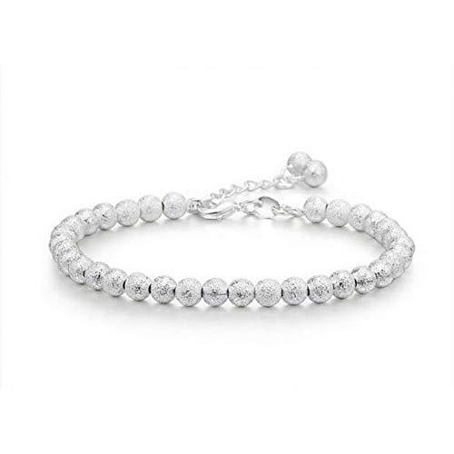 YCWDCS Armband 925 Sterling Silber Armband Glück Runde Gebet Peeling Perlen Armbänder & Armreifen Für Männer Und Frauen Schmuck (Halloween-peelings Frauen Für)