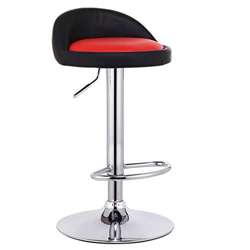 Barhocker, Fußstütze mit runder PU-Sitzlehne Verstellbarer Gasheber 60~80 cm für Frühstücksrestaurant Pub | Cafe Tellerfuß verchromt max. Laden Sie 150 kg