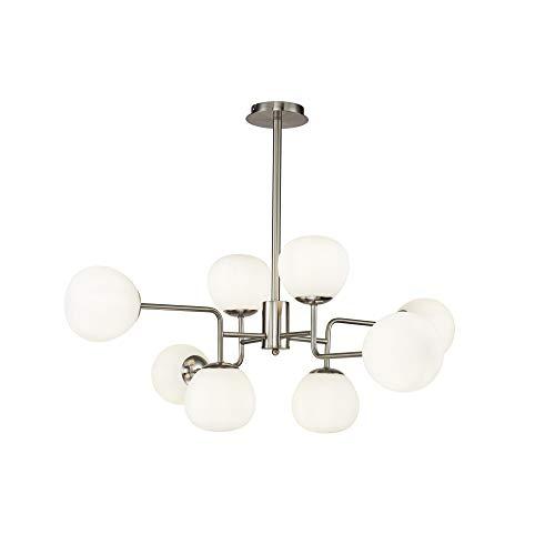 Lustre Suspension 8 lampes, style Moderne, Art Deco, armature en Métal couleur nickel, Abat-jours en verre blanc, pour la Chambre, le Salon, Bureau, hall, ampoules non incluses E14 8x 40W 220V