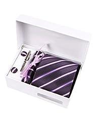 Coffret Cadeau Singapour - Cravate violet aubergine à rayures violettes, blanches, noires et parme, boutons de manchette, pince à cravate, pochette de costume