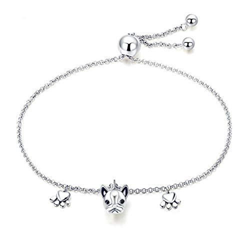 LLCOFFGA 925 Sterling Silber FranzöSisch Bulldog Armband Frauen, Mode Tier Charme ArmbäNder Hund Platin Plattiert Schmuck ZubehöR, 22 cm (Armband-charme-hund)