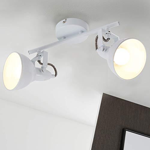 Briloner Leuchten 2049-026 Deckenleuchte, Deckenlampe mit 2 dreh-und schwenkbaren Spots im Retro/Vintage Design, Metall, 40 W, weiß