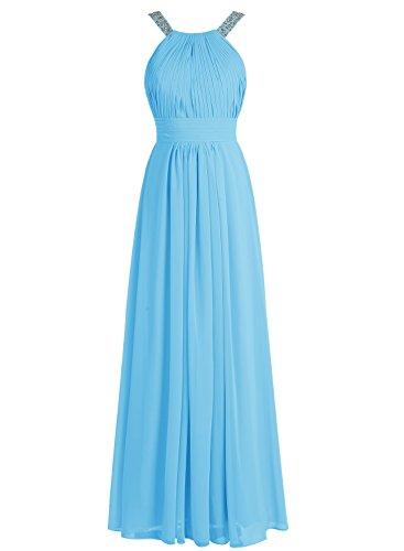 Bbonlinedress Robe de cérémonie Robe de soirée en mousseline forme empire longueur ras du sol Bleu