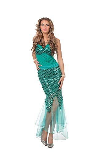 Meerjungfrau Kostüm Damen Kleid mit Flossen Grün Nixe Sirene Unterwasser Fantasy Märchen Karneval Fasching Hochwertige Verkleidung Fastnacht Größe 40 Türkis