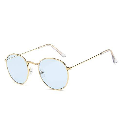 TJJQT Sonnenbrillen Retro ovale Sonnenbrille-Frauen- / Mann-Markendesigner-Weinlese-kleine Schwarze rote gelbeFarbton-Sonnenbrille