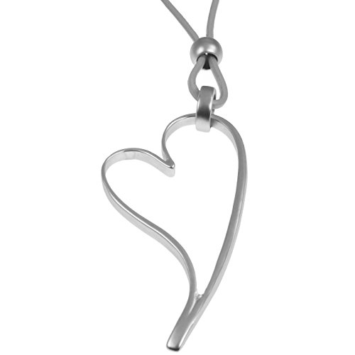 Large silver pendants amazon lagenlook matte silver colour large open heart pendant grey leather long necklace aloadofball Gallery