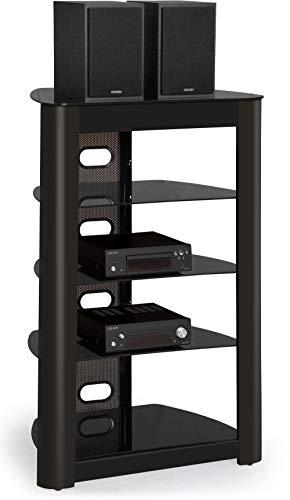 Centurion Supports Zinnia 5-Shelf Gloss Black mit schwarz glänzendem Holzband-Flachbildfernseher / Hi-Fi / AV-Glasständer