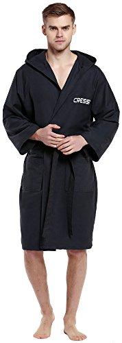 Cressi sport bathrobe, accappatoio sportivo in microfibra unisex adulto, nero, xl