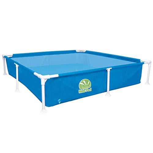 Jilong Kids Pool Blau 152x152 Stahlrahmen Planschbecken Kinder-Pool Schwimmbecken Garten Schwimmbad