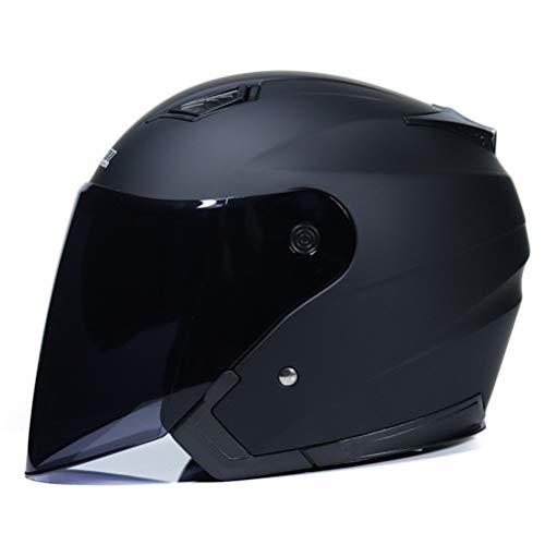 KKmoon Motorino Motociclo Casco Aperto del Fronte Mezzo Cuoio con Visiera UV Occhiali di Protezione Retro Vintage Stile 54-60cm Blu