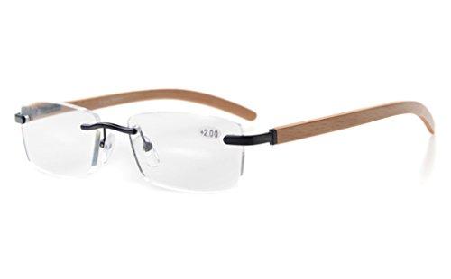 Schwarze Randlose Brillen (Eyekepper Federscharniere Wood Arms Randlos Brillen Schwarz)