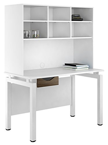 Kit Out My Office UCLIC Bench Desk Cupboard with Single Drawer and Open Upper Storage, Metal, Dark Olive, 1200 mm