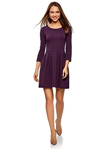 oodji Ultra Damen Tailliertes Kleid mit Ausgestelltem Rock, Violett, DE 36 / EU 38 / S