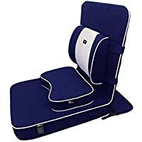 FOM (Friends of Meditation) Extra großer Entspannender Meditations und Yoga Stuhl mit Rückenstütze und Meditationsblock Navy blau