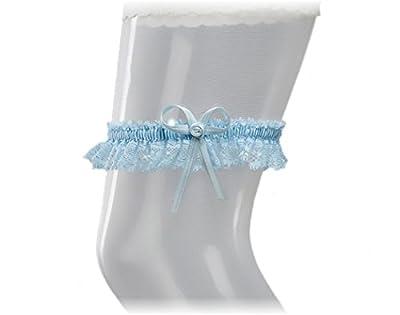 """BrautChic Schmales ELEGANTES blaues Strumpfband für die Braut - Hochzeitsstrumpfband """"ETWAS BLAUES"""" - Brautkleid Hochzeit - One Size - BLAU"""