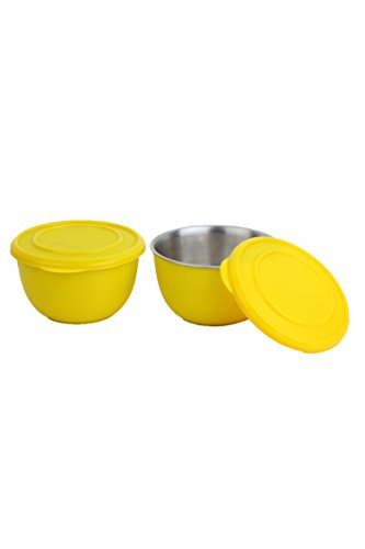 Homeish Metallo Microwave Safe Stainless Steel Plastic Coated Bowls with Lid (Yellow) Set of 2 - 13cms