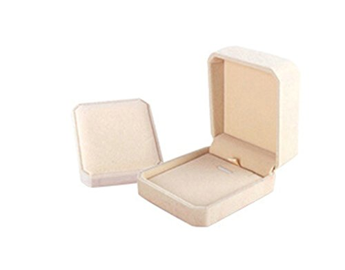 AnaZoz Joyería de Moda Caja de Joyas Caja Regalo Terciopelo Caja del Pendientes Cuadrada Caja de Joyas Beige