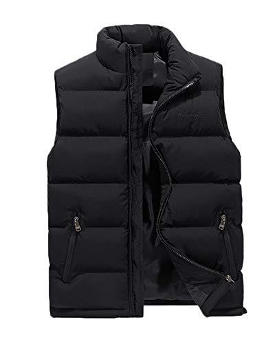 Herren Comfort Weste Sleeveless Zipper Pocket Down Baumwolle Warm Stehkragen Outdoor Jacke Schwarz 3XL