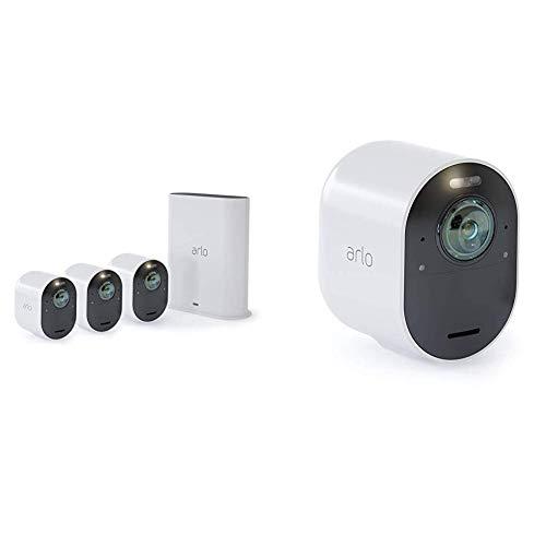 Arlo Ultra Vms5440 wifi-videobewakingssysteem met 4 4K beveiligingscamera's, 2-audiostraat, licht, Bluetooth, dag / nacht 180 Vision, binnen / buiten, Alexa / Google Wi-Fi compatibel
