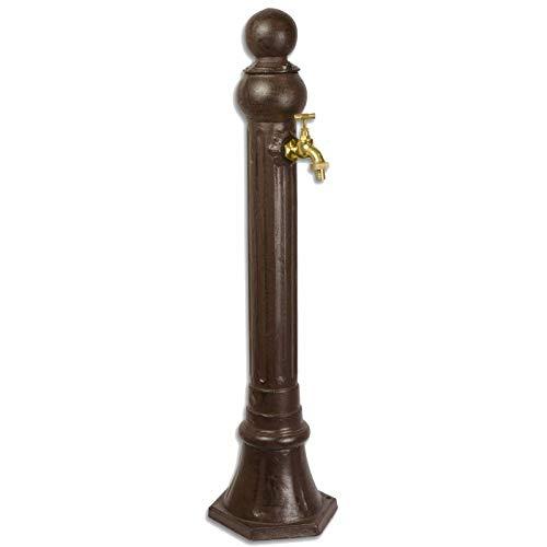 L'héritier du temps - grande fontana da tavolo, colonna, in ghisa di alluminio patinato, con rubinetto funzionale in ottone, 20 x 23 x 85 cm