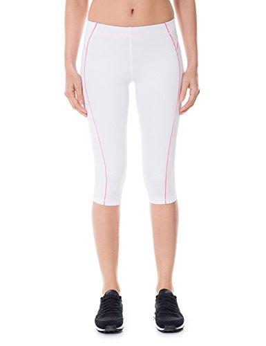 SYROKAN Femme Leggings de Sport Pantalons Capri Jogging Yoga Collants Blanc