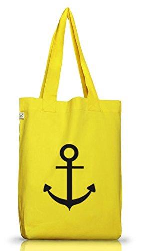 Shirtstreet24, ANKER, Kapitän Seefahrt Schiff Jutebeutel Stoff Tasche Earth Positive Yellow