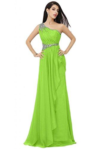 Sunvary donna Royal Chiffon con uno spalla A-line abiti da sera o da cerimonia, con diamanti Green