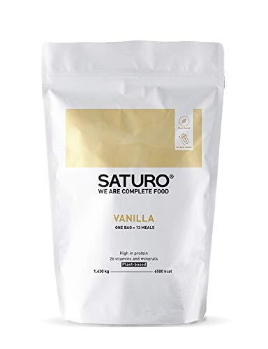 Eiweißpulver Vanille Saturo, 13 Portionen, Ideal als Mahlzeiten Ersatz oder Diät Shake, Vegan, Glutenfrei, von Führenden Experten Entwickelt und mit Sorgfältig Ausgewählten Rohstoffen -