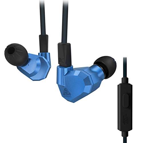 KZ ZS5 High Fidelity Extra Bass Ohrhörer Kopfhörer Headsets Quad Fahrer Kopfhörer mit Fernbedienung und Mikrofon (Blau)