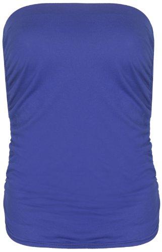 Purple Hanger - Haut Pour Les Femmes Style Bandeau Tube Sans Bretelle Extensible Souple Élastique Fronce Sans Manche Uni Bleu roi