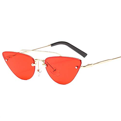 Taiyangcheng Cat Eye Sonnenbrille männer Spiegel randlose Sonnenbrille für Frauen Shades Eyewear Brille,rot