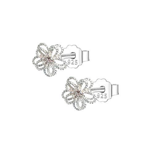 AMAYA Ohrringe 925 Sterling Silber Damen Mädchen Kinder-Ohrringe Blume - Ohr-stecker verarbeitet mit AAA Zirkonia Kristallen Steine - Edelstahl Allergiefrei Nickelfrei - rosa weiß klein (Blüte) - Kristall Ohrstecker