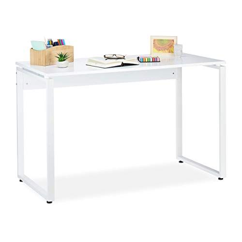 Relaxdays Bürotisch, Schreibtisch für Home Office, Computertisch, Jugendzimmer, rutschfest, HBT 76x120x60 cm, matt weiß, MDF-Platte, Stahl, Kunststoff,