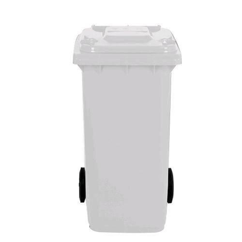 Cubo de HDPE (polietileno de alta intensidad) para uso externo de 240litros, 58cm de ancho x 73cm de largo x 107 cm de alto, peso: 16kg, Color blanco