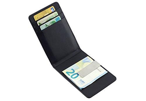 Designer Kartenhalter mit Geldklammer I Karten und Geldscheine sicher und platzsparend verstaut I handgefertigt aus hochwertigem Leder I ultra flach I minimalistisch und elegant designed